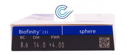 Perfil de la caja de Lentes de contacto Biofinity esféricas